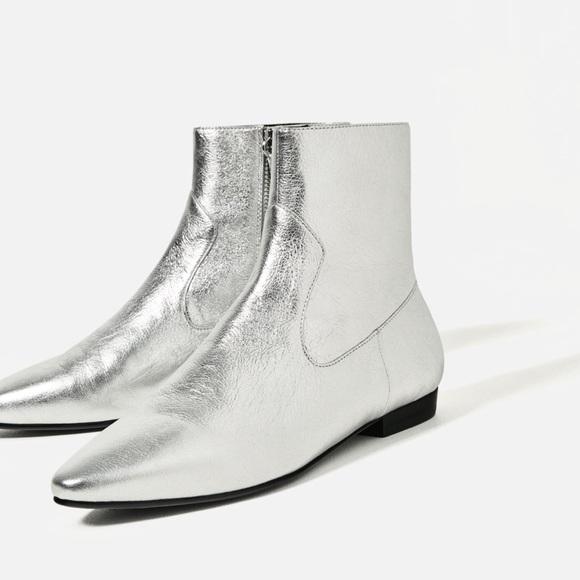cheap sale high quality designer fashion Zara Shoes | New Metallic Leather Flat Ankle Booties 65 | Poshmark